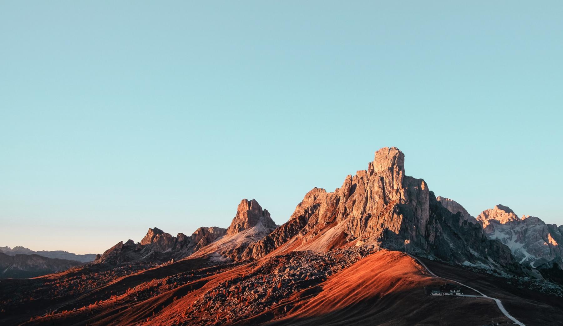 Red mountain range at sunset